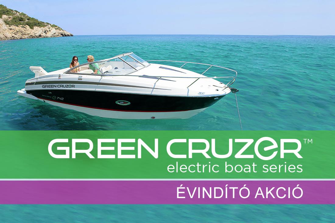 GreenCruzer évindító akció elektromos hajók nagy árelőnnyel